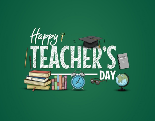 Happy teachers day mit schulmaterial