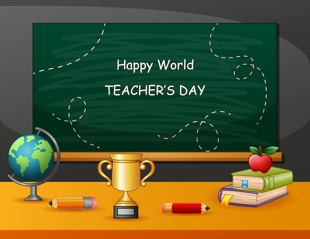 Happy teachers day zeichen mit satz von stationären elementen