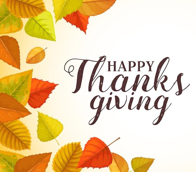 Happy thanks begrüßung mit rahmen aus herbstlaub laube, pappel und birke. erntedankfest herbstferien glückwunsch, herbstsaisonplakat mit hellem baumpflanzenlaub