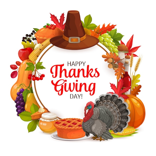 Happy thanks giving tag runden rahmen. herbstferien-grußkarte mit ernte, kürbis, truthahn, hut oder abgefallenen blättern mit beeren. herbstferien glückwunsch, ahorn, eiche, birke oder ebereschenlaub