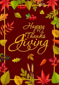 Happy thanks grüße mit schriftzug und herbstlaub und beeren aus ahorn, eiche, birke oder eberesche und ulme mit preiselbeeren. erntedankfest fallen laubrahmen