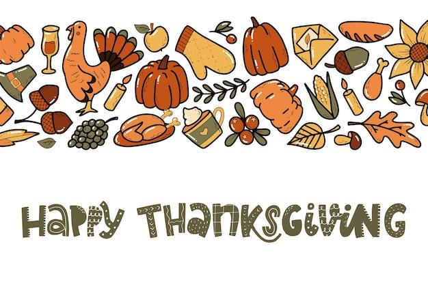 Happy thanksgiving-banner mit zitat und rahmen