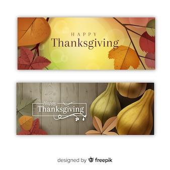 Happy thanksgiving-banner-set