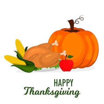 Happy thanksgiving celebration design cartoon herbst gruß erntesaison urlaub banner vektor-illustration. traditionelles essen abendessen saisonal dank poster.