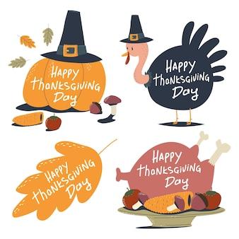 Happy thanksgiving day abzeichen, etikett und tag mit truthahn, kürbis, blätter und hut cartoon set isoliert auf einem weißen hintergrund.