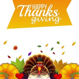 Happy thanksgiving day feier hintergrund mit truthahnvogel