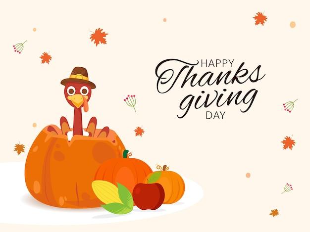 Happy thanksgiving day font mit cartoon-türkei-vogel, kürbisse, apfel, mais und ahornblätter dekorierten hintergrund.