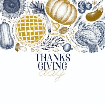 Happy thanksgiving day grußkarte für thanksgiving-karte im vintage-stil.