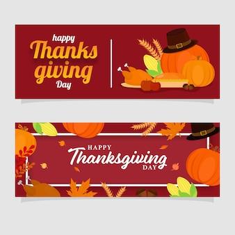 Happy thanksgiving day header oder banner set mit festivalelementen verziert roten hintergrund.