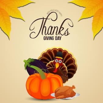 Happy thanksgiving day hintergrund mit vektorkürbis