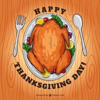 Happy thanksgiving day-karte mit einer hand gezeichnet turkey