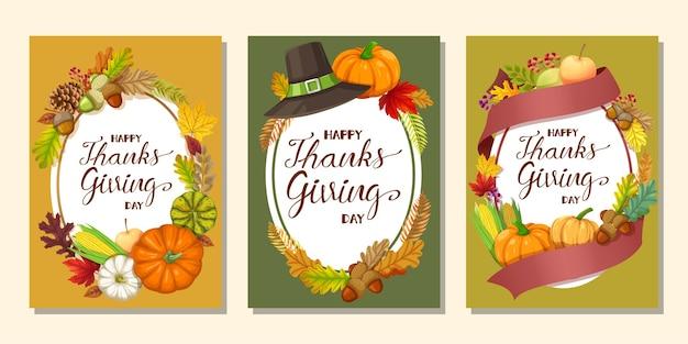 Happy thanksgiving day karte oder flyer mit kürbis, mais, walnüssen, blättern und getrockneten tannenzapfen