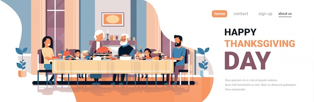 Happy thanksgiving day multi-generationen-familie sitzen tisch feiern dank tag