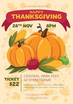 Happy thanksgiving day party poster vorlage. werbeeinladung auf erntefest. kommerzielles flyerdesign mit halbflacher illustration des kürbises. vektor-cartoon-promo-karte.