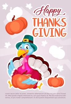 Happy thanksgiving day poster vorlage. truthahn mit kürbis. broschüre, umschlag, broschürenseitenkonzeptdesign mit flachen abbildungen. werbeflyer, faltblatt, banner-layout-idee