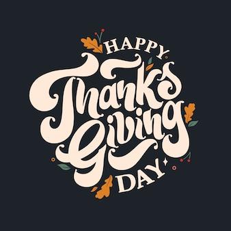 Happy thanksgiving day schriftzug