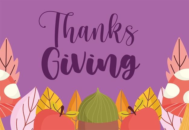 Happy thanksgiving eichel apfel pilz blätter dekoration