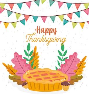Happy thanksgiving einladung kuchen eicheln laub girlande
