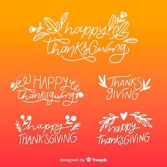 Happy thanksgiving farbverlauf schriftzug abzeichen sammlung