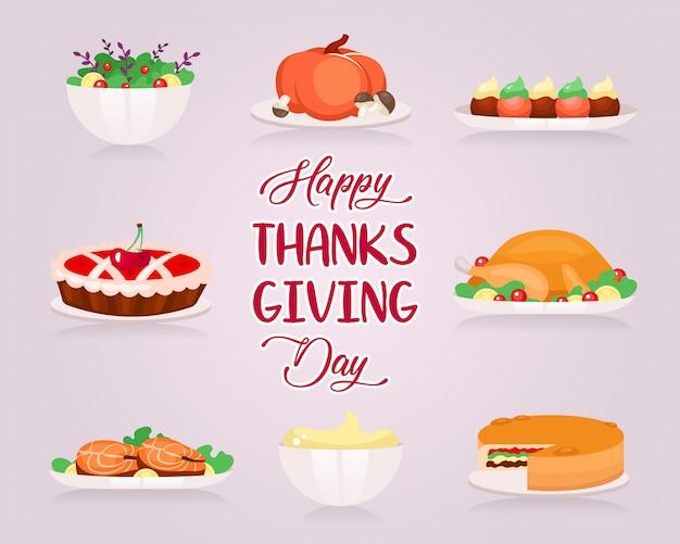 Happy thanksgiving flache grußkarte vektorschablone.
