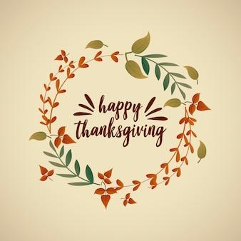 Happy thanksgiving-grußkarte und herbstlaub