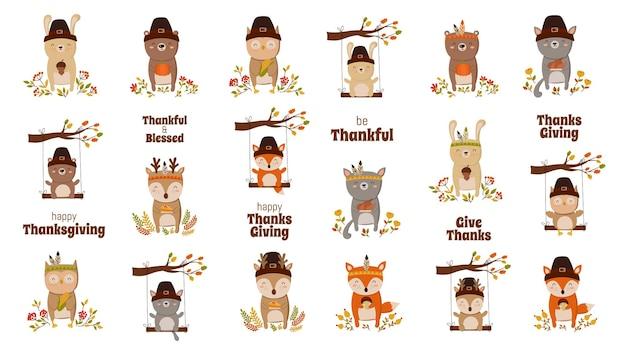Happy thanksgiving-grußkartenplakat oder flyer für den urlaub lustiges tier