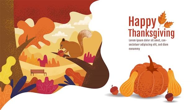 Happy thanksgiving, herbst., zeichnen, cartoon, landschaft