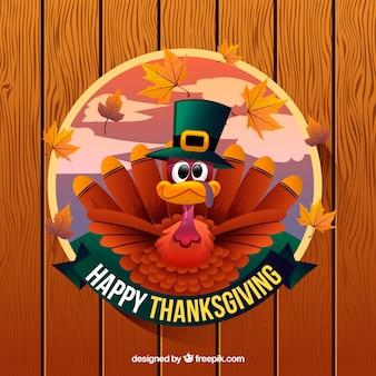 Happy thanksgiving hintergrund mit türkei