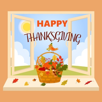 Happy thanksgiving-korb am fenster vogel in hut und schal sitzt auf dem korb