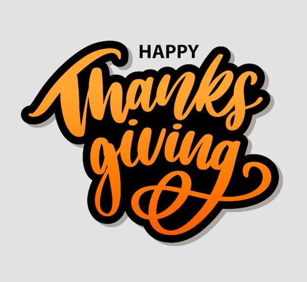 Happy thanksgiving pinsel hand schriftzug