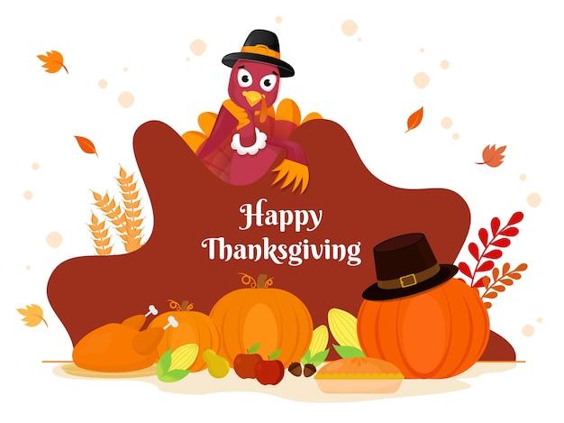 Happy thanksgiving poster mit truthahnvogel, der pilgerhut und festivalelemente auf weißem hintergrund trägt.