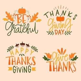 Happy thanksgiving schriftzug abzeichen sammlung