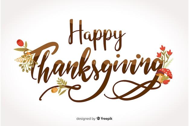 Happy thanksgiving schriftzug mit blumen