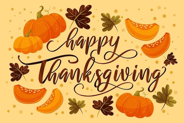 Happy thanksgiving schriftzug mit kürbissen