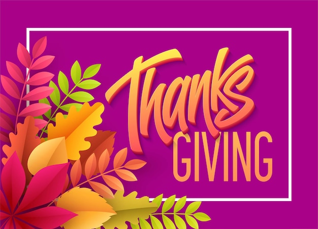 Happy thanksgiving-schriftzug mit papierherbstblatt. vektorillustration eps10