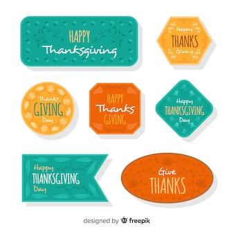 Happy thanksgiving tag abzeichen sammlung