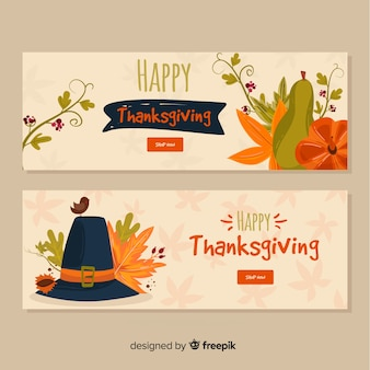 Happy thanksgiving tag banner-set