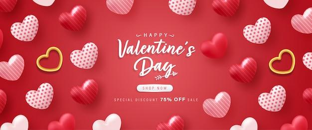 Happy valentine day hintergrund oder banner mit schönen elementen.