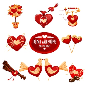 Happy valentine day icon set