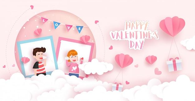 Happy valentine's card mit geschenkboxen, wolken, luftballons und schönen jungen und mädchen. papierkunst design.