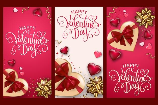 Happy valentine's day karten mit geschenkbox, volumenherzen und schleifen.