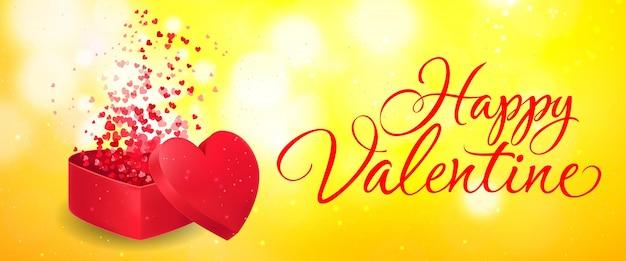 Happy valentine schriftzug mit geschenkbox