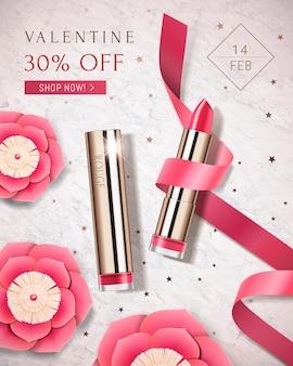 Happy valentine verkaufsplakat mit papierblume und goldenem lippenstift auf marmorstein