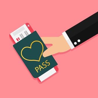Happy valentines day blank flugzeugtickets für eine romantische reise