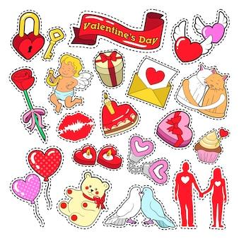 Happy valentines day doodle für sammelalbum, aufkleber, aufnäher, abzeichen.