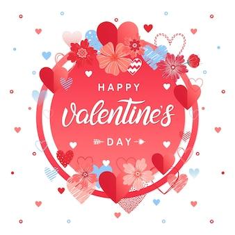 Happy valentines day - handgemalter schriftzug mit verschiedenen herzen und blumen. romantische illustration, perfekt für karten, drucke, flyer, poster, urlaubseinladungen und mehr. vektor-valentinstag-karte.
