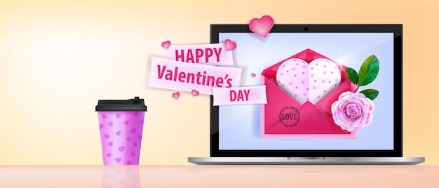 Happy valentines day liebesbanner mit laptop-bildschirm, kaffeetasse, rosa umschlag, herzförmige grußkarte.