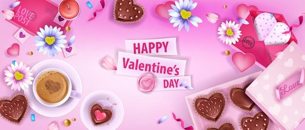 Happy valentines day liebesvektor flach lag hintergrund mit kamille, umschläge, kaffeetasse, kekse. urlaub romantische draufsicht banner, desserts, herzen, blütenblätter. valentinstag layout hintergrund