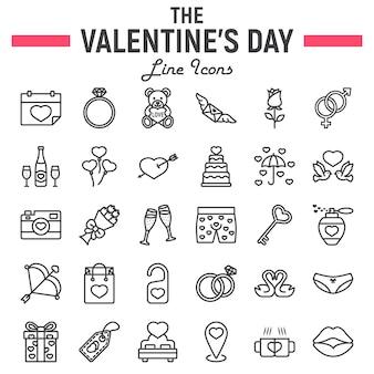 Happy valentines day line icon set, symbolsammlung,