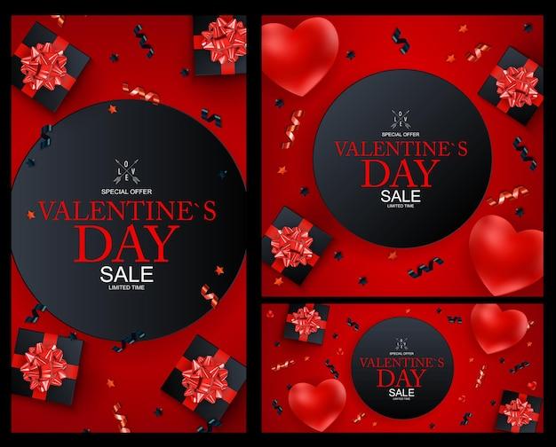 Happy valentines day sale hintergrund set, poster, karte, einladung.